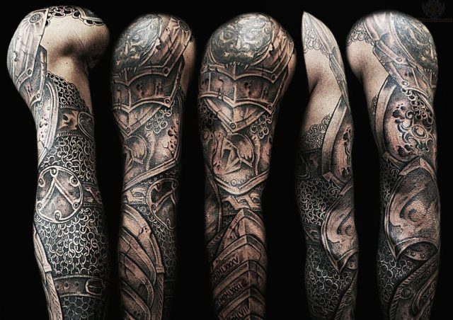 Armor tattoo on full sleeve