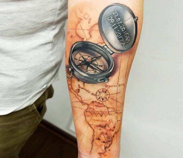 Artist  adrianna marta grzelak  compass and map tattoo 18267093425