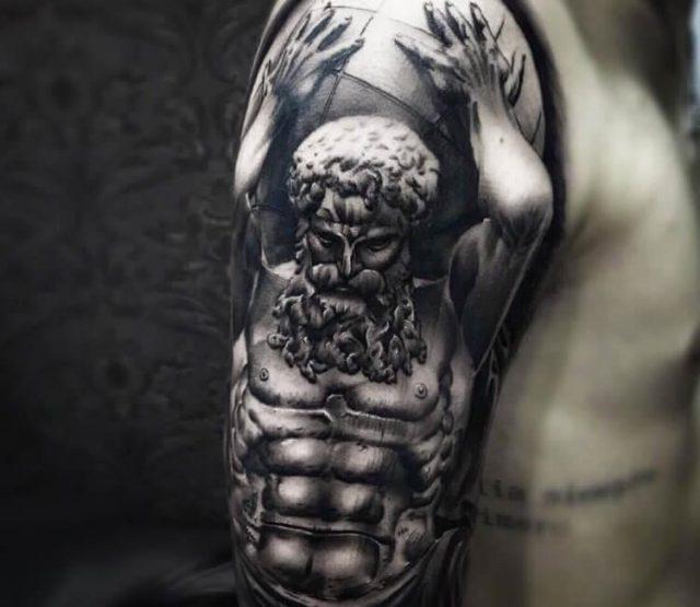 Artist  honart  atlas greek mythology tattoo 19124182034