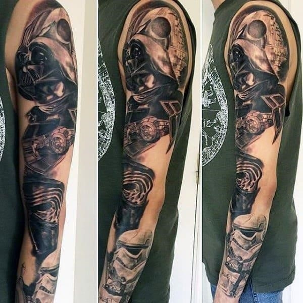 Awesome grey star wars tattoo mens full sleeves