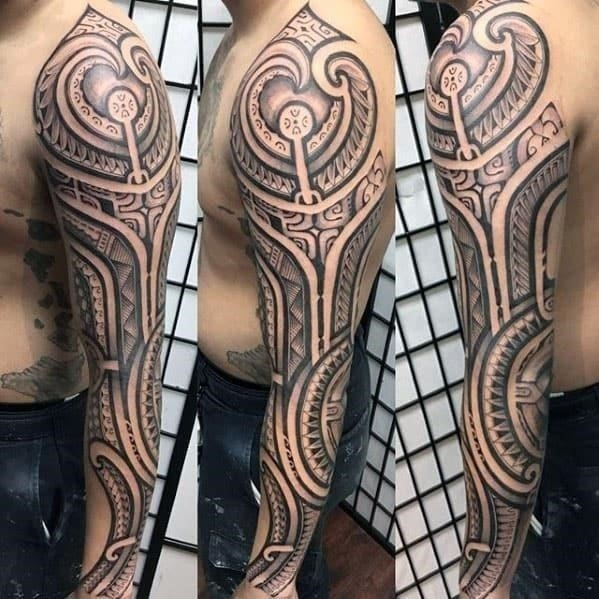 Awesome mens polynesian tribal sleeve tattoo designs
