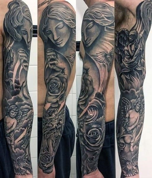 Awesome religious tattoo male sleeves