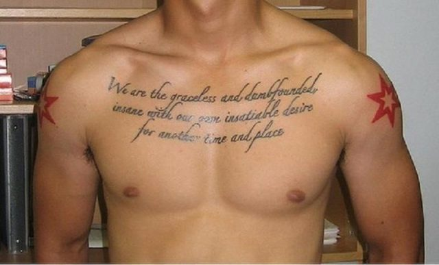 Awesome script chest tattoo for men