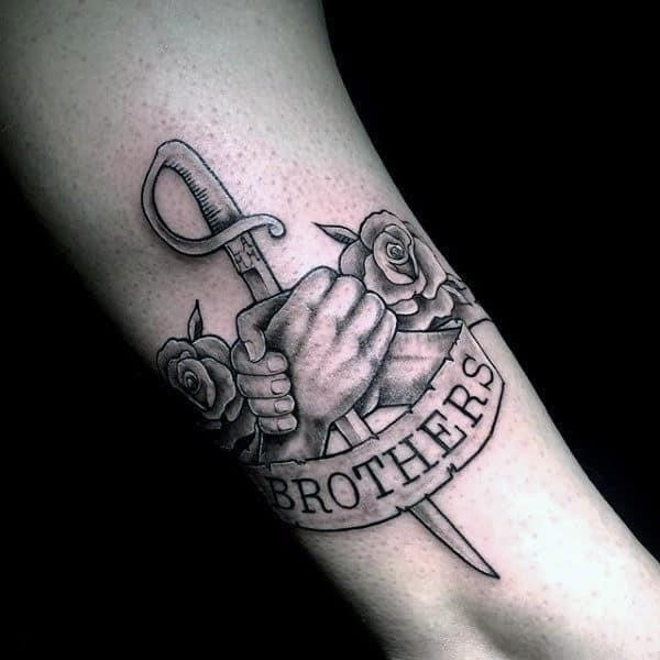 Awesome sword brothers banner tattoo on gentleman