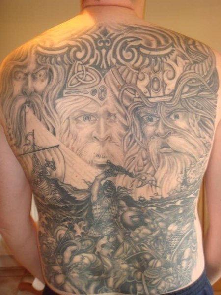 Awful grey ink viking tattoo on full back