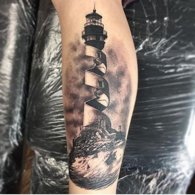 B566e839f094c1d6a63a31de706de5bb  lighthouse tattoos leg tattoos