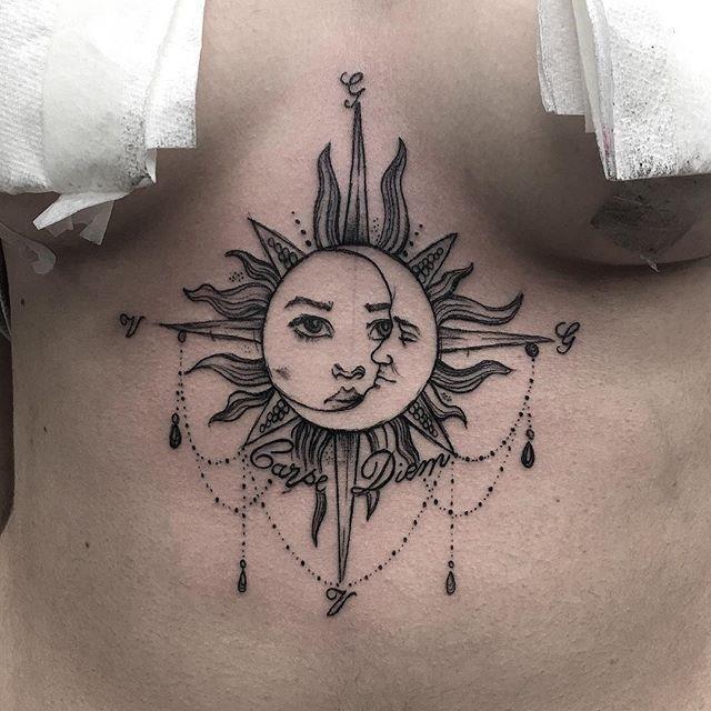 B8efc175632775d59506f45f0219f753  moon sternum tattoo underboob tattoos