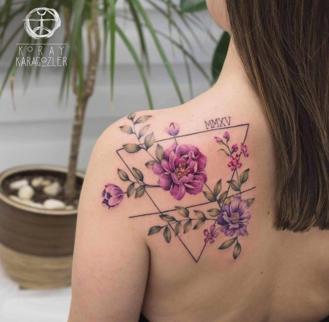 Baby birth day floral back tattoo