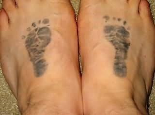 Baby footprint tattoos on feet 2