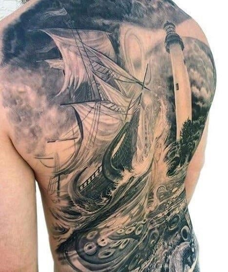 Back mens lighthouse tattoo with octopus