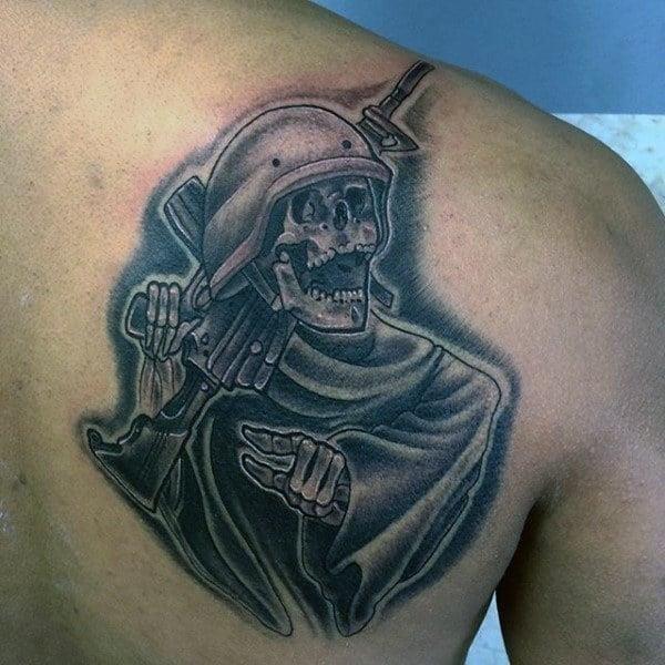 Back of shoulder military tattoo designs for men