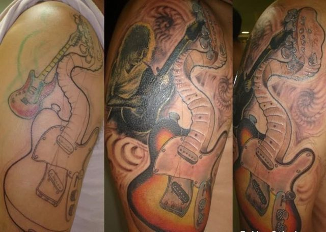 Band guitar tattoos