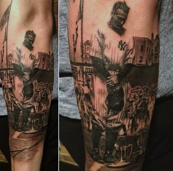 Baseball glove tattoo men