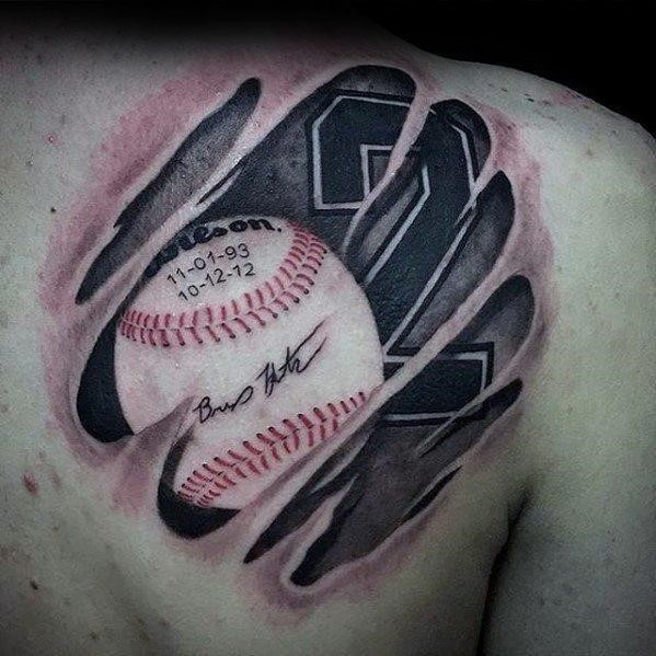 Baseball ripped skin shoulder male sports tattoo ideas