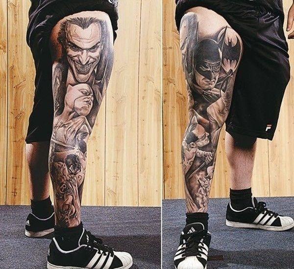 Batman full leg tattoo