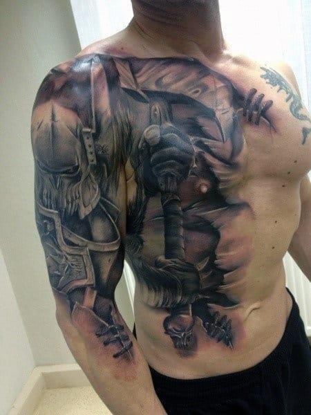 Battle warrior tattoo sleeve