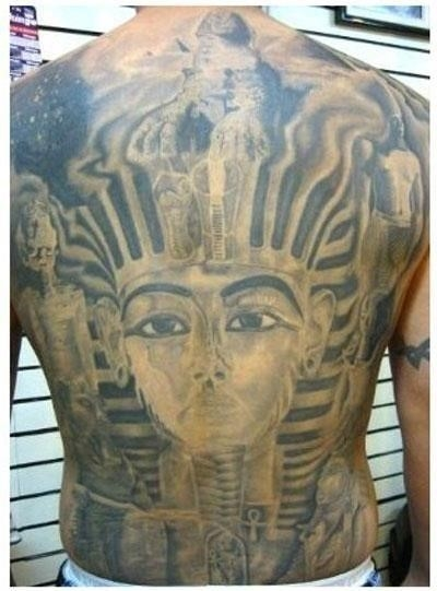 Beautiful egyptian back body tattoo