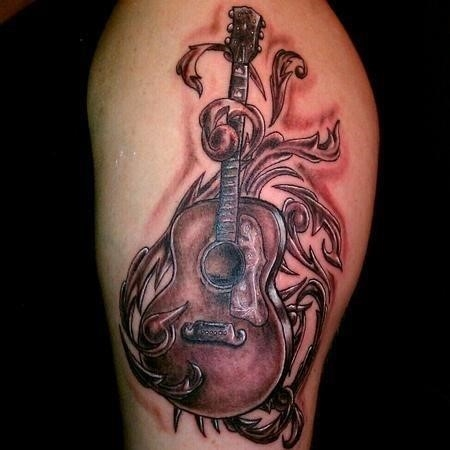 Best grey ink guitar tattoos design