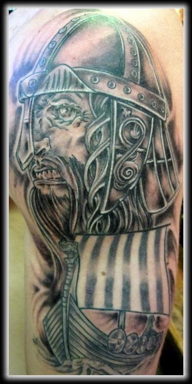Best grey ink viking tattoo on man left half sleeve