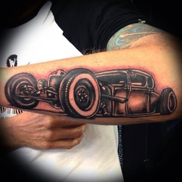 Best hot rod tattoo mens forearm design ideas
