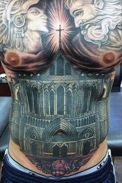 Best stomach tattoos on men of realistic chuch building