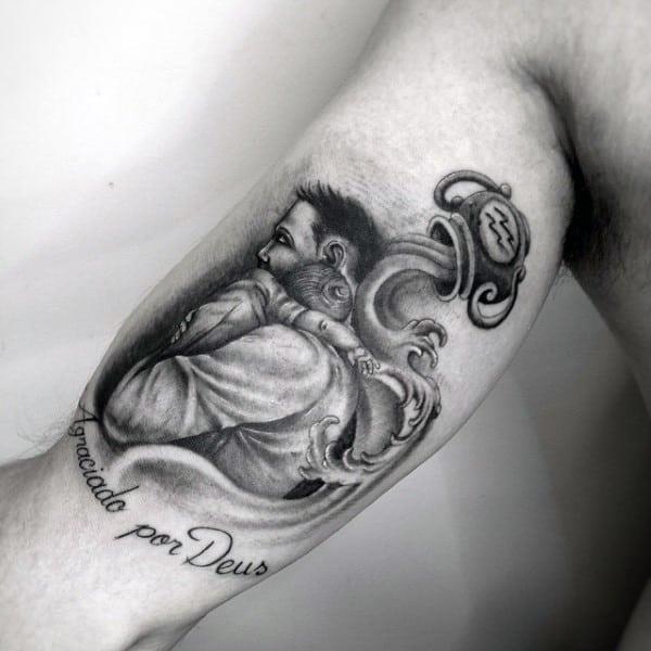 Bicep father son tattoo hug design