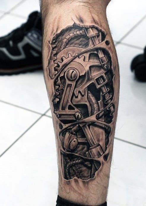 Bio mechanical tattoo for men
