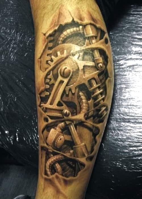 Biomechanical tattoo on arm