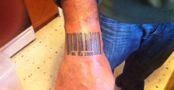 Birth date barcode tattoo 560×292