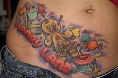 Birthday cake tattoo on belly