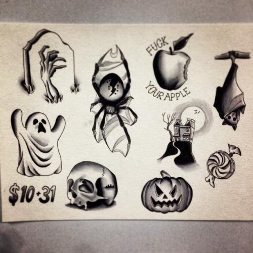 Black Traditional Halloween Tattoo Flash