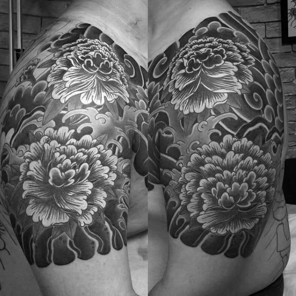 Black and grey carnation flower male japanese quarter sleeve tattoos