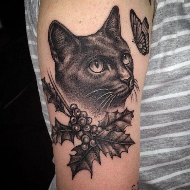 Black cat tattoo21 650×650