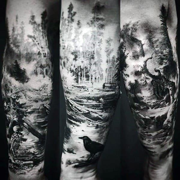 Black crow forest mens sleeve tattoo inspiration