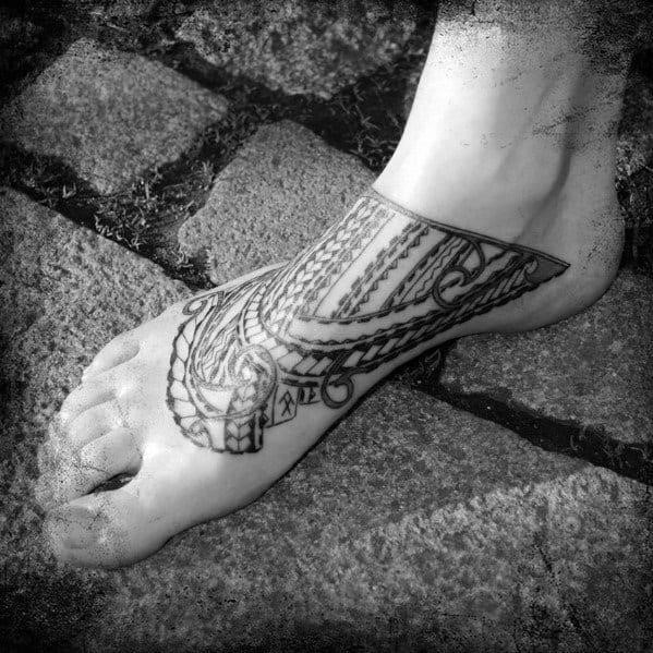 Black ink guys samoan tribal foot tattoo designs