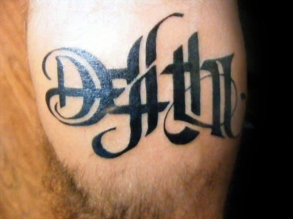 Black ink life death ambigram tattoos for guys