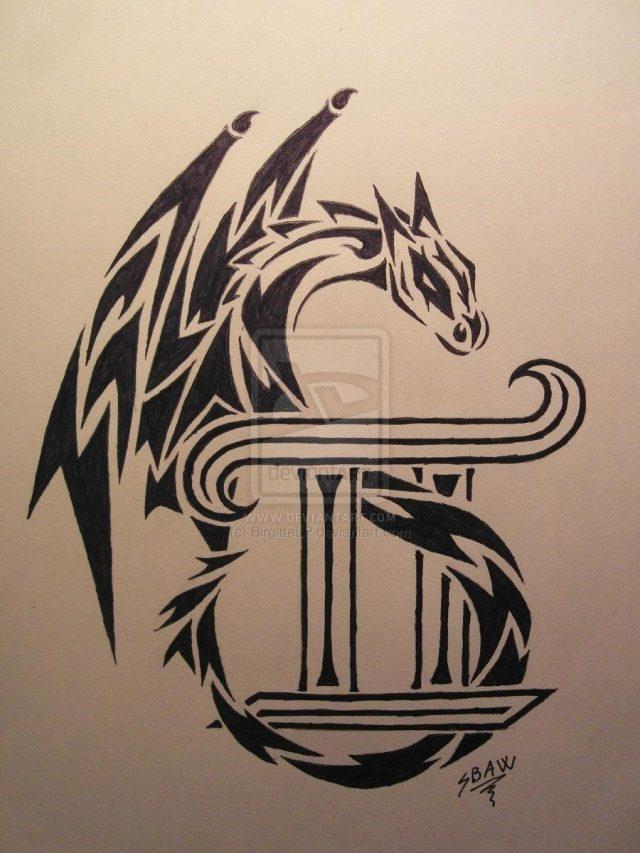 Black ink tribal dragon and gemini tattoo design