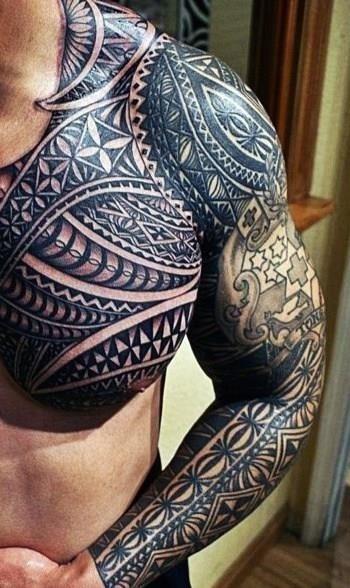 Black mens shoulder tattoo