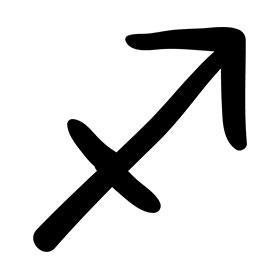 Black sagittarius glyph tattoo