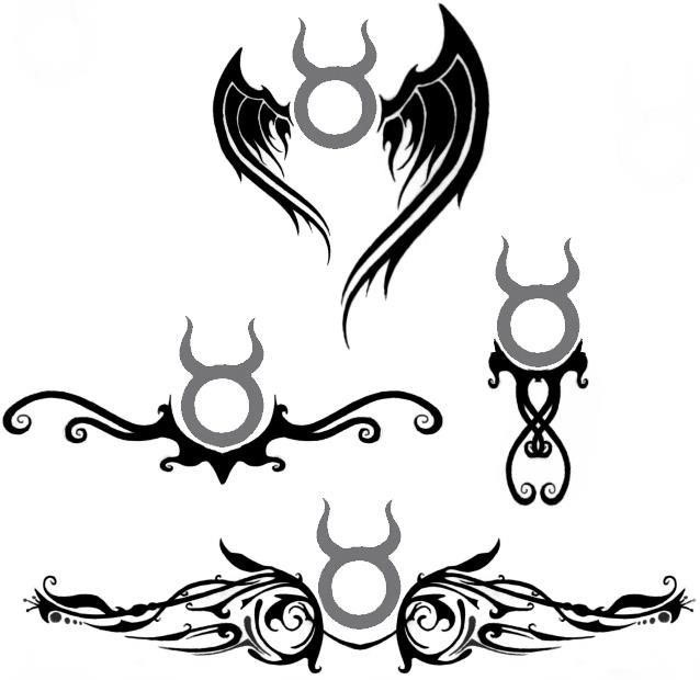 Black tribal and taurus tattoos designs