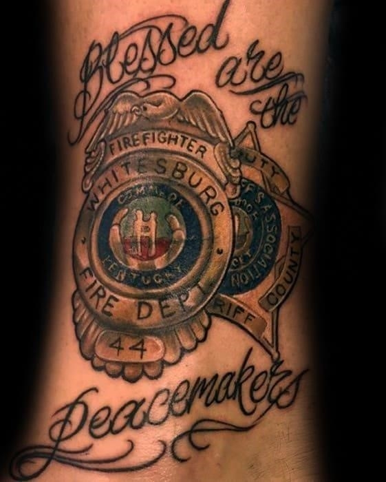 Blessed are the peacemakers mens deputy police tattoo