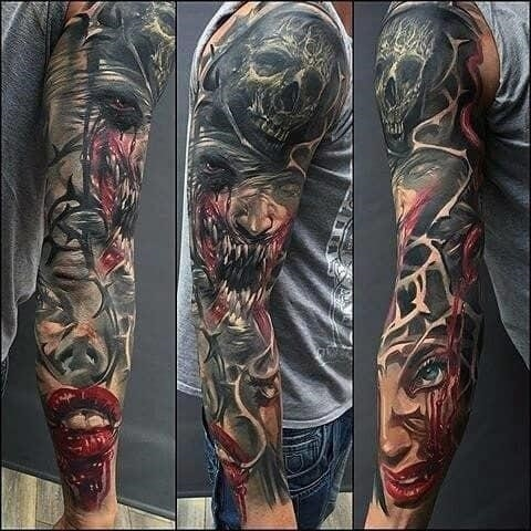 Blood violence sick male sleeve tattoo
