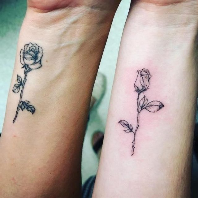 Bloomed rose blooming rose mother daughter tattoos on wrist