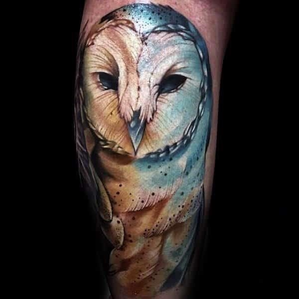 Blue ink barn owl shaded mens watercolor arm tattoo