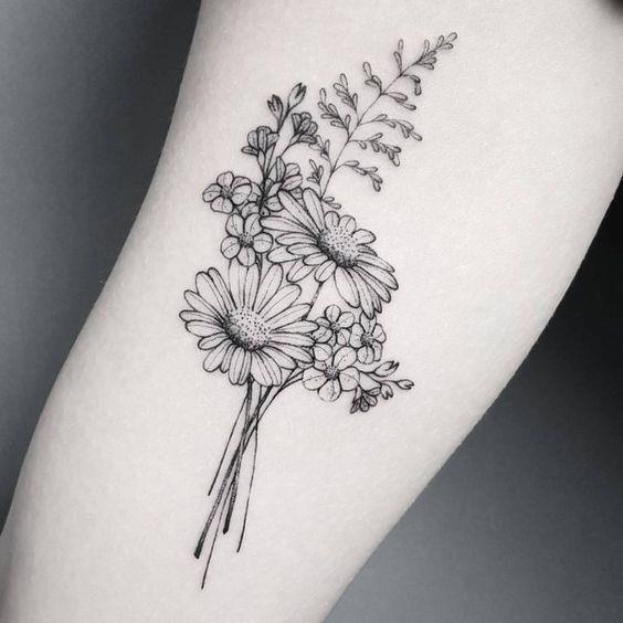 Bouquet daisy flower tattoo