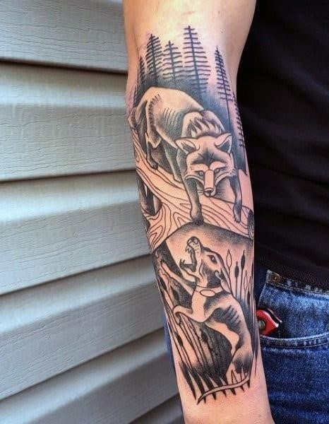 Bow hunting tattoo for men half sleeve