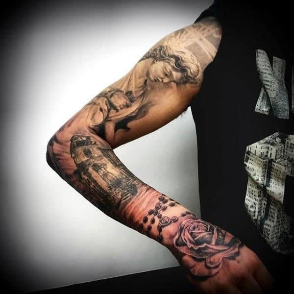 Brilliant religious tattoo male sleeves