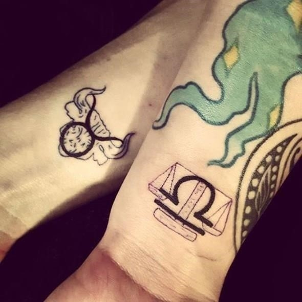 Brother and sister zodiac tattoo