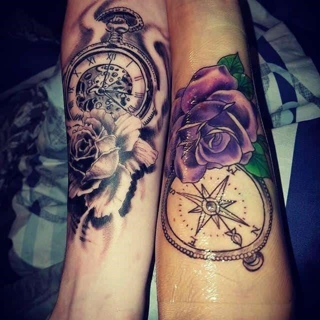 Brother sister tattoo rose and compas 68