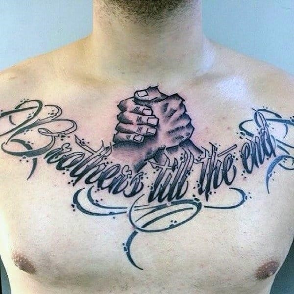Brothers till the end mens handshake chest tattoos